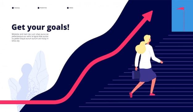 Crescimento pessoal. a mulher que caminha passos para o sucesso, impulsiona seu trabalho ao alvo. conceito de negócio de carreira profissional