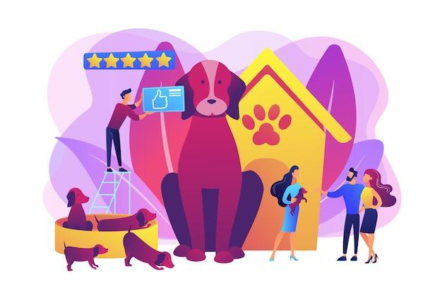 Criação de cães, compra de cachorro em pet shop. animal doméstico. casal adotando cachorro. clube de raça, padrão de raça superior, compre aqui o seu conceito de animal de estimação de raça pura. ilustração isolada violeta vibrante brilhante