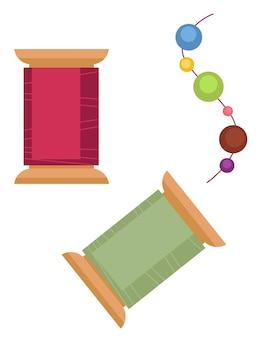 Criação de decorações com fio e miçangas. produção artesanal de hobby, equipamentos para confecção de joias. costura ou alfaiataria caseira. materiais para aulas ou workshops, vetor em estilo simples
