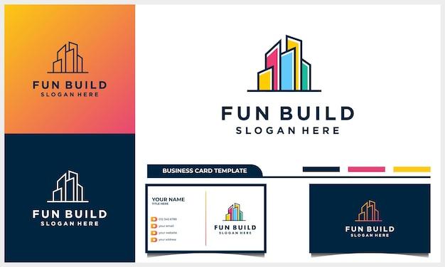 Criação de design de logotipo com conceito de arte de linha, logotipo abstrato colorido de construção de cidade e cartão de visita