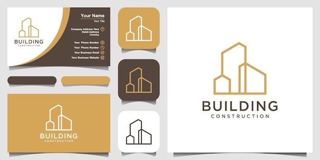 Criação de design de logotipo com estilo de arte de linha abstrato de construção de cidade para inspiração de design de logotipo