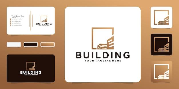 Criação de inspiração de design de logotipo com moldura quadrada e cartão de visita