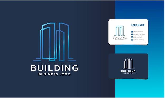 Criação de logotipo com estilo exclusivo de arte de linha e modelo de cartão de visita.