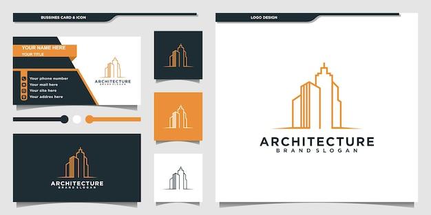 Criação de logotipo de arquitetura com estilo de arte de linha moderna e design de cartão de visita premium vekto