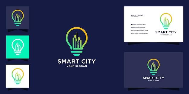 Criação de logotipo no design de lâmpada e cartão de visita