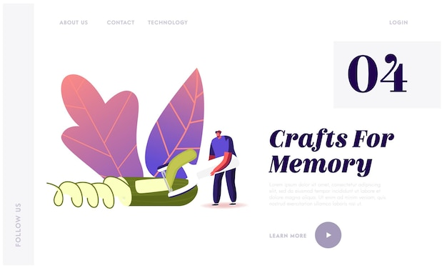 Criação de modelo de página inicial de vegetais esculpidos