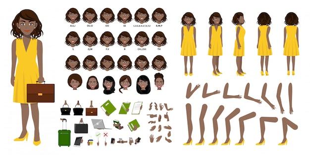 Criação de personagem de desenho animado de empresária afro-americano com várias vistas