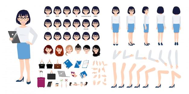 Criação de personagem de desenho animado de mulher de negócios chinês conjunto com várias vistas.