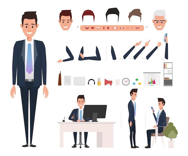 Criação de personagem de homem de negócios para animação.