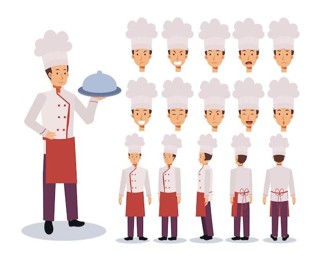 Criação de personagem masculino chef flat com várias vistas
