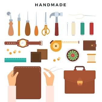 Criação de produtos de couro feitos à mão