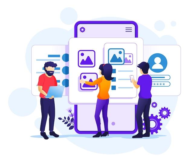 Criação de um conceito de aplicativo, pessoas e local de texto de conteúdo, design ui ux