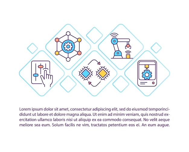 Criação do ícone do conceito de sistema de produção com texto. modelo de página ppt de inteligência artificial e computação cognitiva. elemento de design de brochura, revista, livreto com ilustrações lineares