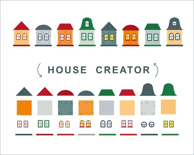 Criador da casa. coleção de vetores de elementos de telhado, janelas e paredes.