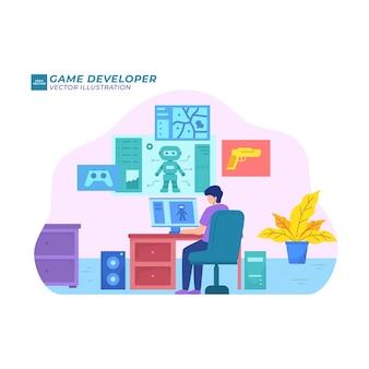 Criador de aplicativos de jogos de estúdio virtual para desenvolvimento de jogo e ilustração plana