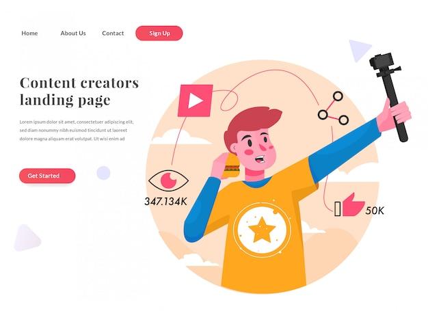 Criador de conteúdo da página de destino da web