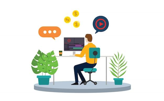 Criador de conteúdo ou freelancer de editor de vídeo