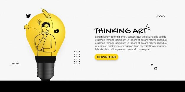 Criador de conteúdo pensando dentro da lâmpada, sobre fundo branco, o conceito de ideia criativa