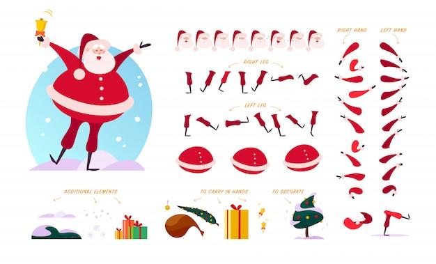 Criador de personagem de papai noel - poses diferentes, gestos, emoções, elementos de férias - flocos de neve, abeto, caixa de presente e bolsa para desenhos de natal, animação, web, banners isolados no branco bg