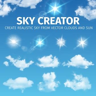 Criador do céu. conjunto de nuvens e sol realistas. ilustração eps 10