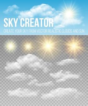 Criador do céu. conjunto de nuvens e sol realistas.