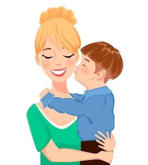 Criança, abraçando, e, beijando, seu, mãe