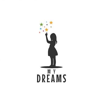 Criança, apontar, estrelas, ícone, gráfico, desenho