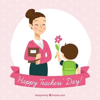 Criança apresentando uma flor ao professor
