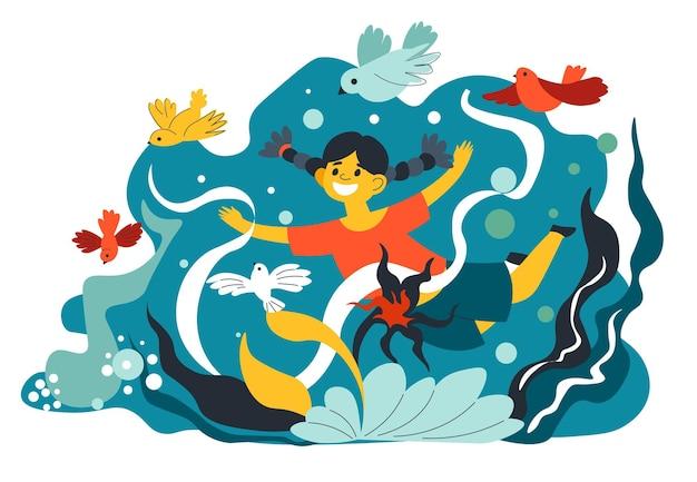 Criança assistindo a flora e a fauna no aquário com algas marinhas. menina olhando para pássaros e flores. vida selvagem e relaxamento ao ar livre, tempo de entretenimento e diversão para crianças pequenas. vetor em estilo simples