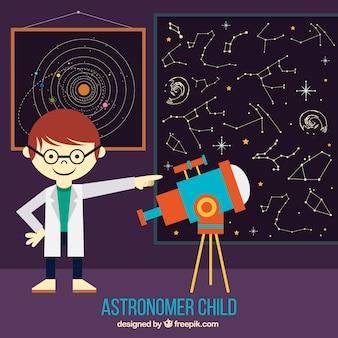 Criança astrónomo com um telescópio para ver constelações