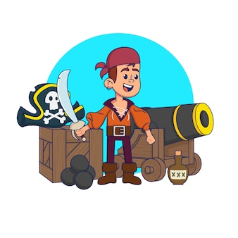 Criança bonita em uma fantasia de pirata em um ambiente de pirata. ilustração.