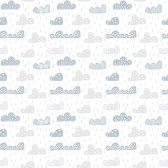 Criança bonito doodle nuvens padrão sem emenda em estilo escandinavo. vector papéis de parede de crianças desenhados à mão, férias