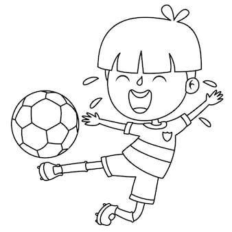 Criança brincando com a bola, página de desenho para colorir para crianças