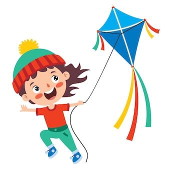Criança brincando com uma pipa colorida