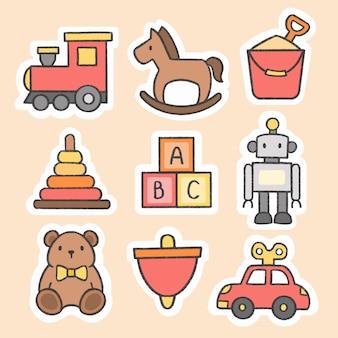 Criança, brinquedos, adesivo, mão, desenhado, caricatura, cobrança