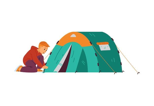 Criança campista ou escoteiro definindo ilustração vetorial de barraca de turista isolada