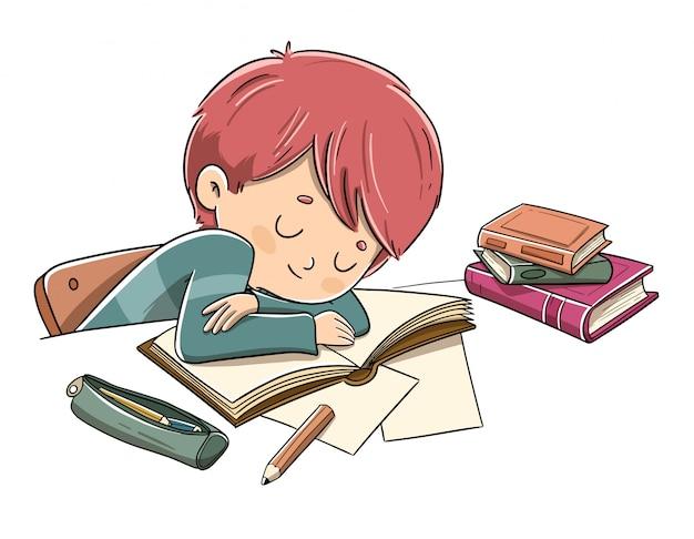 Criança cansada de estudar