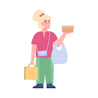 Criança com mercadorias compradas à venda ilustração em vetor plana dos desenhos animados isolada