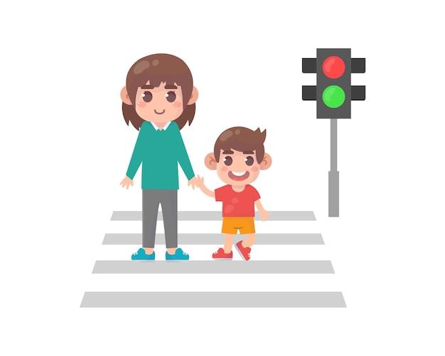 Criança com pai atravessando a rua