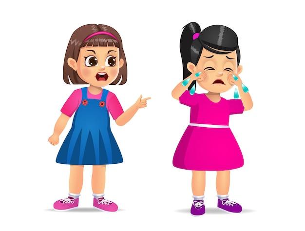 Criança com raiva, gritando com uma linda garota. isolado no branco