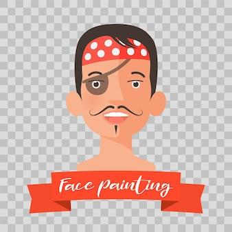 Criança com rosto de pirata pintando em fundo transparente