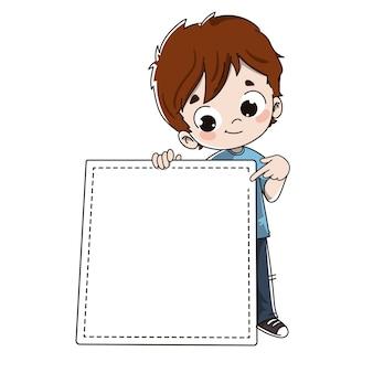Criança com um cartaz de convite ou anúncio