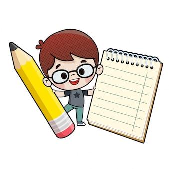 Criança, com, um, lápis, e, um, caderno