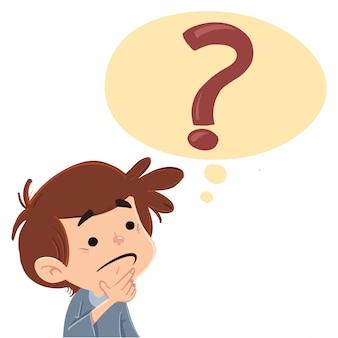 Criança, com, um, pergunta, com, um, marca pergunta