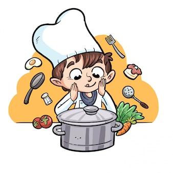 Criança cozinhar com ingredientes e pote