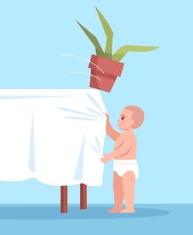 Criança curiosa puxa a toalha de mesa com ilustração a cores semi rgb de flores. ambiente inseguro. lesões acidentais de infância em personagem de desenho animado em casa sobre fundo azul