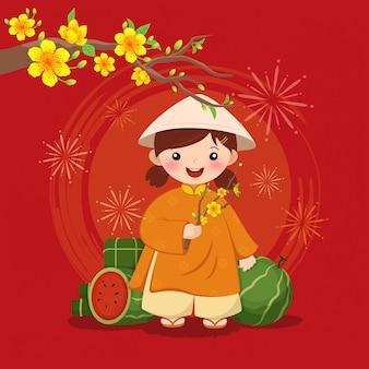 Criança de ano novo lunar em roupas tradicionais