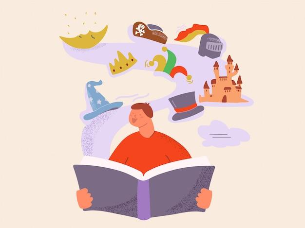 Criança de besteira dos desenhos animados, ler a cauda de fada do livro mágico se divertindo ilustração plana