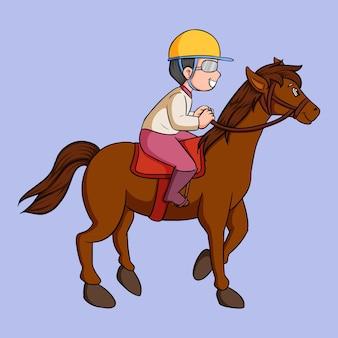 Criança de desenho animado com cavalo de corrida