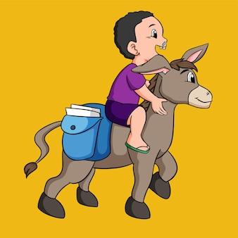 Criança de desenho animado montando um burro